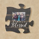 Simply Blessed Photo Frame Puzzle Piece Weathered Black