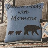 Momma Bear Quilted Piped Pillow Multi Warm 18 Square