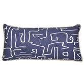 Windswept Abstract Piped Pillow Navy Rectangle