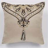 Landon Tailored Embroidered Pillow Gold Beige 16 Square