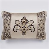 Landon Piped Embroidered Pillow Gold Beige Rectangle