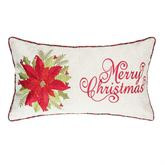 Averie Poinsettia Embroidered Pillow Rectangle