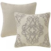 Wynne Reversible Piped Embroidered Pillow Oatmeal 16 Square