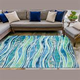 Wave Ocean Rectangle Rug Multi Cool