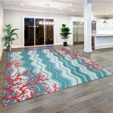 Coral Reef Square Rug Teal 8 Square