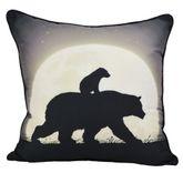 Nightly Walk Bear Piped Pillow Dark Gray 18 Square