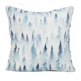 Nightly Walk Trees Piped Pillow Blue 18 Square