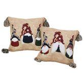 Tis the Season Reversible Gnome Pillow Multi Warm 18 Square