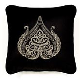 Fenmore Embroidered Pillow Black 18 Square