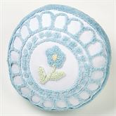 Cottage Bloom Tufted Pillow Blue Round