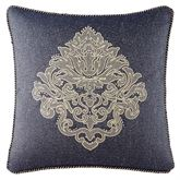 Vaughn Embroidered Pillow Navy 18 Square