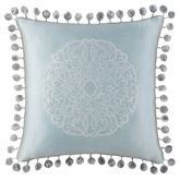 Jonet Pompom Embroidered Pillow Pastel Blue 16 Square