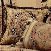 Ravel Fringed Pillow Multi Warm 18 Square