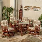 Leikela Oval Dining Table with Caster Chairs Oval Set of Five