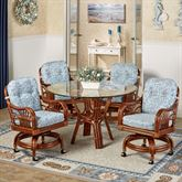 Leikela Round Dining Table with Caster Chairs Malibu Seaside Round Set of Five