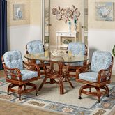 Leikela Oval Dining Table with Caster Chairs Malibu Seaside Oval Set of Five