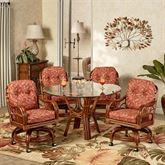 Leikela Round Dining Table with Caster Chairs Papaya Medley Round Set of Five