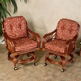 Leikela Dining Chairs with Casters Papaya Medley Chair Pair