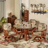 Leikela Round Dining Table with Caster Chairs Rain Forest Round Set of Five