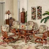 Leikela Oval Dining Table with Caster Chairs Rain Forest Oval Set of Five