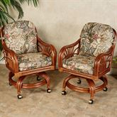 Leikela Dining Chairs with Casters Rain Forest Chair Pair