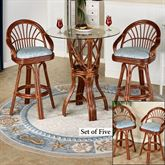 Leikela Bar Table with Four Stools Malibu Seaside Set of Five
