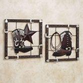 Laredo Wall Plaque Set Dark Bronze Set of Two