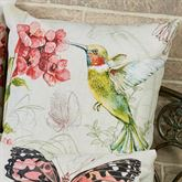 Hummingbird Pillow Multi Pastel 18 Square