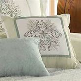 Davenport Scroll Embroidered Square Pillow Ivory 16 Square