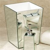 Crystal Mirror Wastebasket Silver