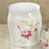 Floral Haven Wastebasket Ivory