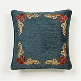 Casanova Embroidered Pillow Dark Teal 18 Square