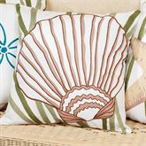 Blue Oasis Scallop Shell Pillow White 18 Square