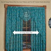 King Peacock Sheer Long Swag Valance Pair Sapphire 54 x 63