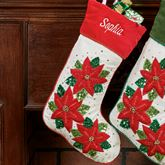Sparkling Poinsettia Christmas Stocking Red
