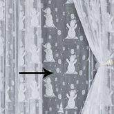 Snowman Lace Curtain Panel White 56 x 63