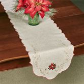 French Perle Poinsettia Table Runner Linen 14 x 70