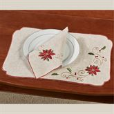 French Perle Poinsettia Placemats Linen Set of Four