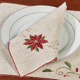 French Perle Poinsettia Napkins Linen Set of Four