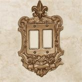 Royal Double Dimmer Rocker Switchplate Aged Gold