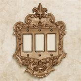 Royal Triple Dimmer Rocker Switchplate Aged Gold