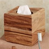 Acacia Wood Tissue Cover Light Brown