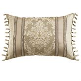 Ava Leaf Fringed Rectangle Pillow Light Taupe