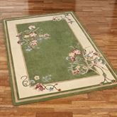 Floral Bouquet Rectangle Rug Deep Sage