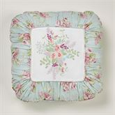Cottage Rose Embroidered Pillow Aqua Mist 18 Square