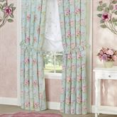 Cottage Rose Tailored Curtain Pair Aqua Mist