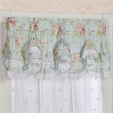 Cottage Rose Ruffled Valance Aqua Mist 72 x 18