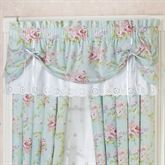 Cottage Rose Tie Up Valance Aqua Mist 60 x 18