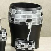 Black Mosaic Stone Wastebasket