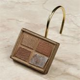 Bronze Mosaic Stone Shower Curtain Hooks Set of Twelve